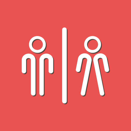 WC sign icon. Male and Female Toilet icon flat design.