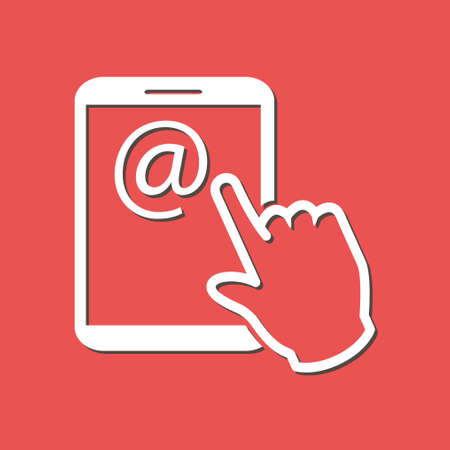 Touch screen tablet PC sign icon. Hand pointer symbol on mail at Tablet screen Illustration