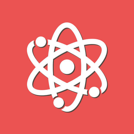Atom sign symbol flat design style. Illustration