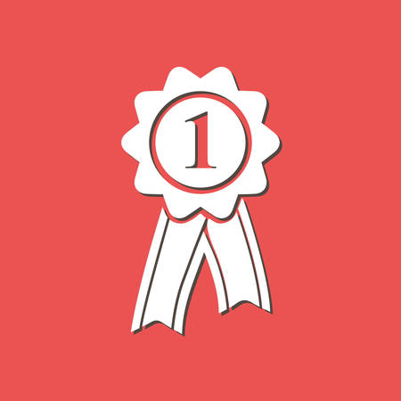 quality guarantee: Badge with ribbons icon. Award rosette with ribbon simbol.