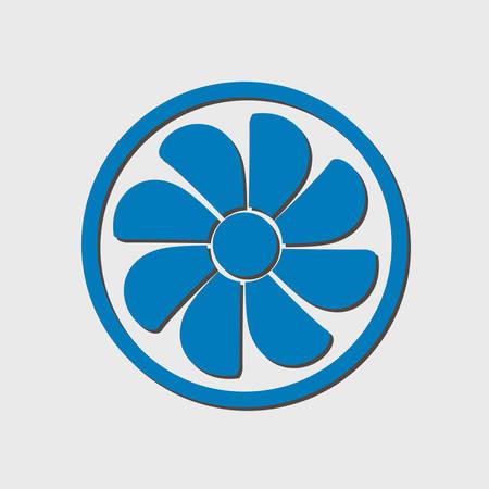 airflow: Exhaust fan icon. Ventilator symbol. Flat design style.