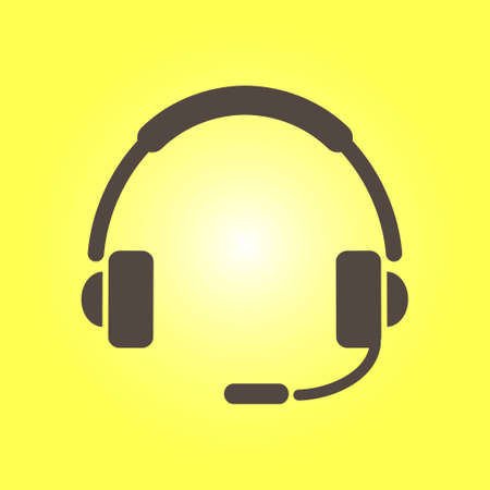 Customer service support concept in a headset with microphone sign symbol.