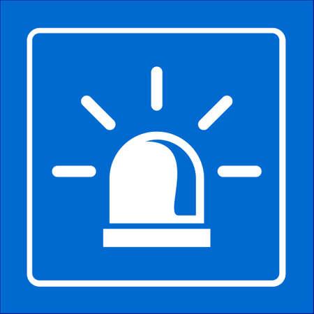 Police single icon. Alarm Power button. Police call button.