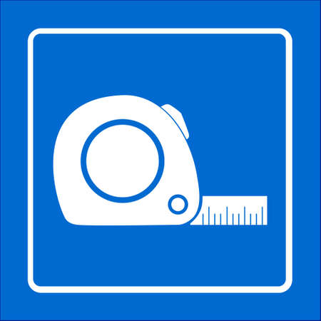 flexibility: Tape measure icon. Roulette construction  symbol. Dimensions and measurements. Create a cutting card.