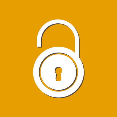 validation: Unlock icon. Flat design style. Validation of the user completed.