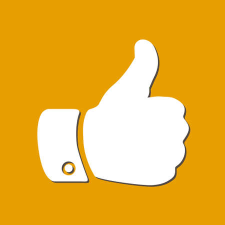 button: Like  icon. Hand finger up sign. Thumb up symbol. Flat design style. Illustration