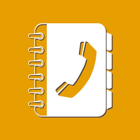 web directories: Phone book flat icon. Flat design style.