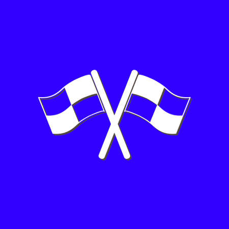 race winner: Flag icon. Location marker symbol. ?heckered flags sign. Flat design style.