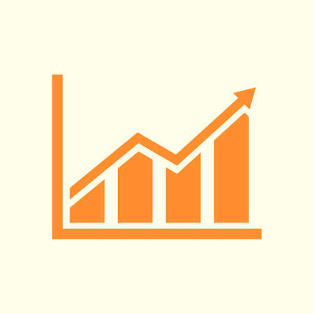 Infographic. Chart icon. Growing graph simbol. Flat design style. Illustration