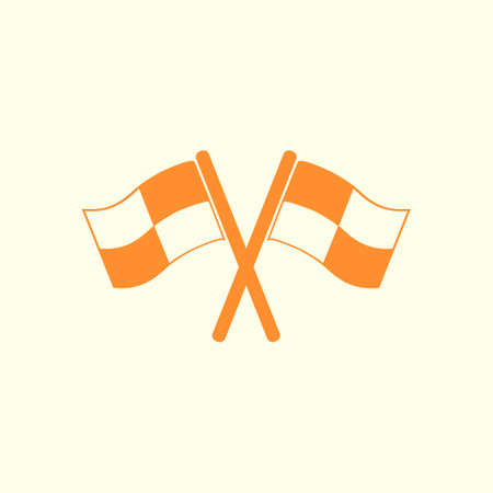 crossed checkered flags: Flag pointer sign icon.