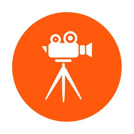film industry: Cinema camera icon. Flat design style. Vector illustration.