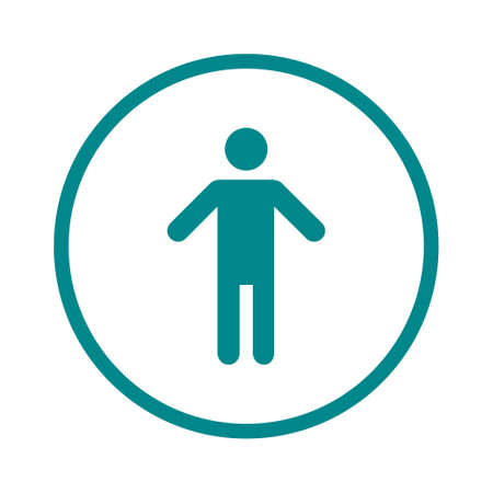 Human male sign icon. Male toilet. Flat style. A gender symbol is a pictogram used to represent either biological gender. Illustration