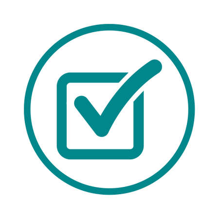 Check list button icon. Check mark in box sign. Illustration