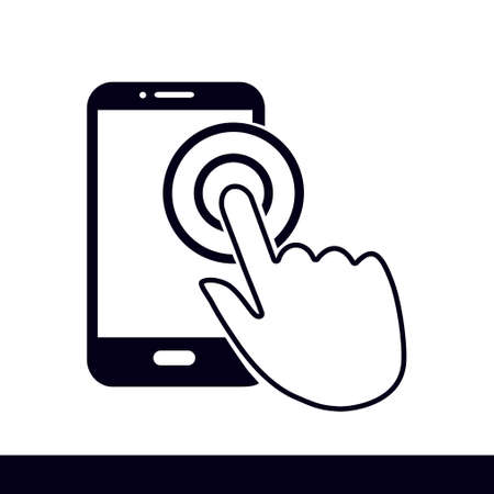 Smartphone sigh icon with a hand tap gesture. 向量圖像