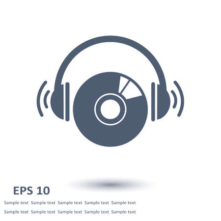 earphone: CD or DVD icon. Compact disk simbol. Flat design style. Illustration