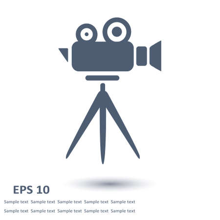 Cinema camera icon flat design style.