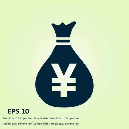 Yen JPY currency speech bubble symbol. Flat design style.  Illustration