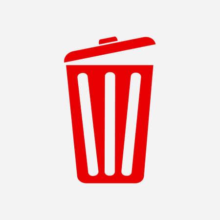 赤いゴミ箱のアイコン。