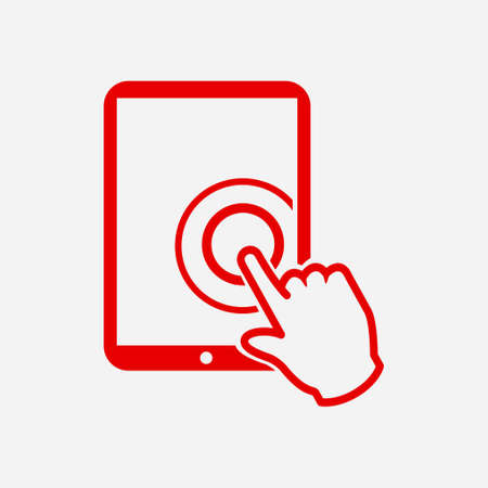 Touch screen tablet PC sign icon. Hand pointer symbol. Illustration