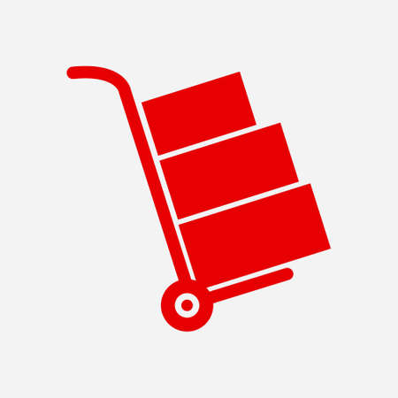 Truck with boxes icon.  Hand truck sign symbol. Illustration