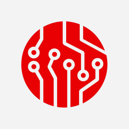 Circuit board  icon. Technology scheme square symbol. Flat design style. Illustration