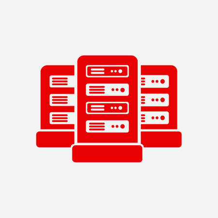 Network servers in data center icon. Flat design style.