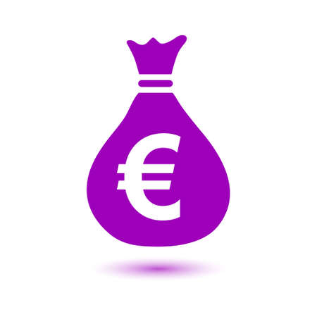 moneybag: Euro EUR currency symbol. Flat design style.