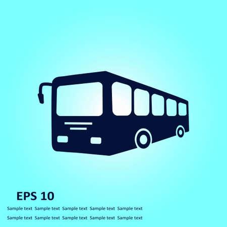 yellow schoolbus: Bus sign icon. Public transport symbol. Flat design style.