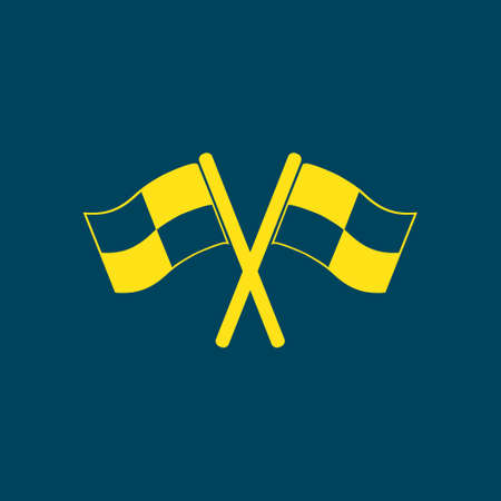 motorizado: Flag icon. Location marker symbol. �¡heckered flags sign. Flat design style. Vectores