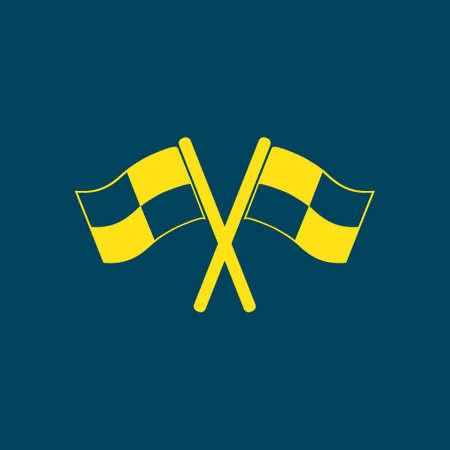 Flag icon. Location marker symbol. Ð¡heckered flags sign. Flat design style. Illustration