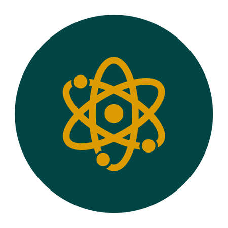 Atom sign symbol. Atom part icon. Flat design style. Illustration