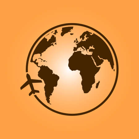 flat earth: Airplane icon travel. Trip round the world. Flat design style.