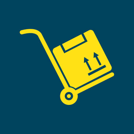 movers: Truck with boxes icon.  Hand truck sign symbol. Illustration