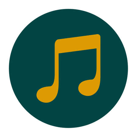 Music Note Icon Character Listening Song Flat Design Style