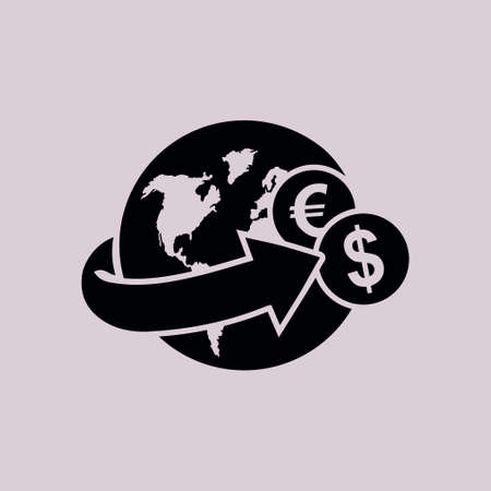 remittance: Arrow wrapped around the earth. Remittances icon.