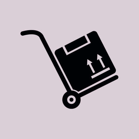 moving box: Truck with boxes icon.  Hand truck sign symbol. Illustration