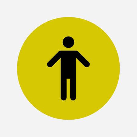인간의 남성 기호 아이콘입니다. 남성 화장실. 플랫 스타일. 성별 기호는 생물학적 인 성을 나타내는 데 사용되는 그림입니다.