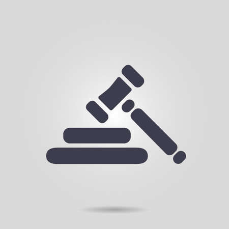 Auction hammer pictogram. Law judge gavel icon. Flat design style. Illustration