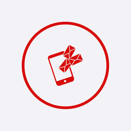 Smartphone email or sms icon. Mobile mail sign symbol. Illustration
