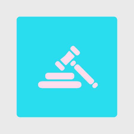 Auction hammer pictogram. Law judge gavel icon. Flat design style. Illustration