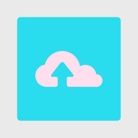 Upload from cloud icon.  Upload button.  Flat  design style. Illustration