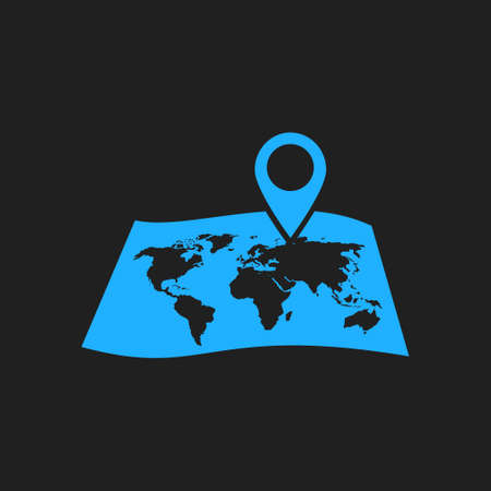 Map with a pin icon. Map navigation symbol.