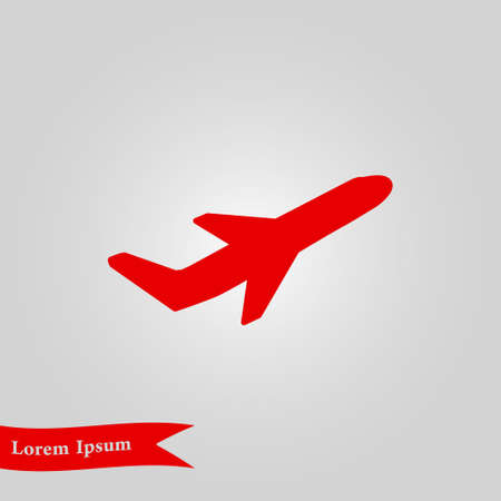 Airplane flight tickets air fly travel takeoff silhouette element. Plane symbol. Travel icon. Flat design.