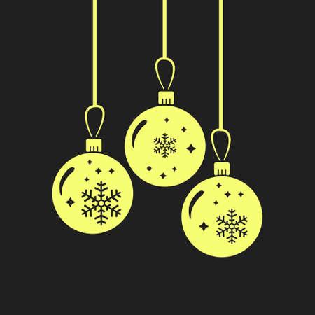 クリスマス ボールのアイコン。正月飾り。すべて新年とクリスマスを祝うために。