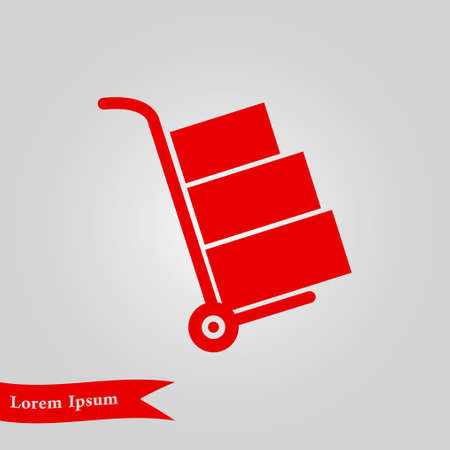 movers: Hand truck with boxes icon. Illustration