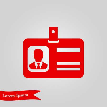 Identification card icon. Conference participant badge flat design style. Иллюстрация