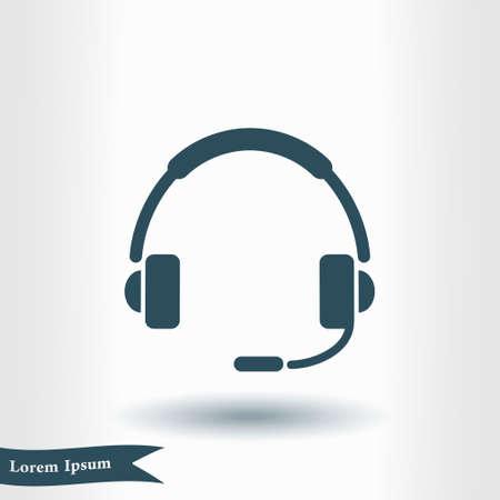 Icône plate du support. Signez le centre d'appels. Contactez le support technique. Appelez et nous vous répondrons.