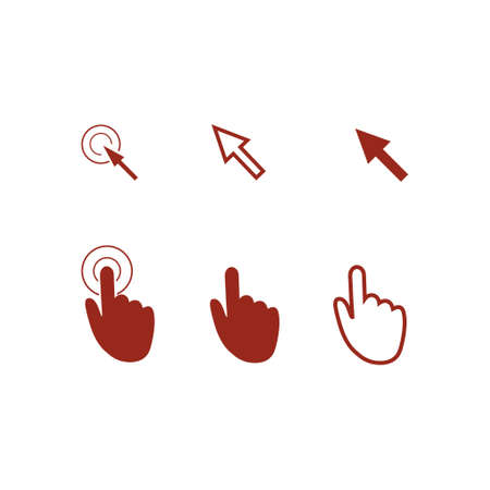 Cursor pointer icons. Click press and touch actions.