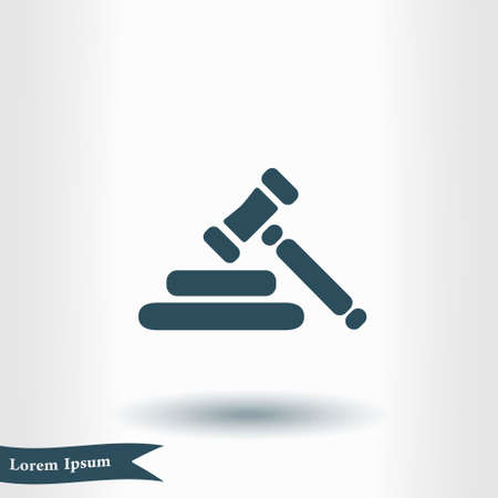 Auction hammer pictograph. Law judge gavel icon. Flat design style.