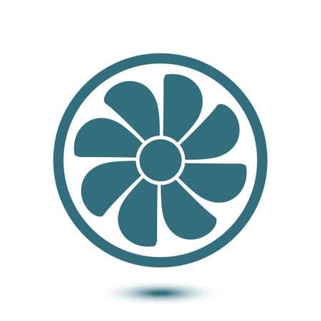 Exhaust fan icon. Ventilator symbol flat design style. Vetores